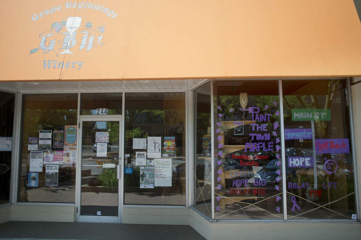 The front of Grape Beginnings Winery in downtown Midland is shown.