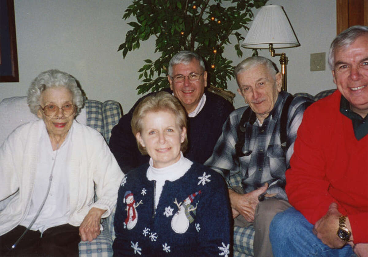 This is a Christmas photo of the Laurence and Dorothy Nielsen family. From left are Dorothy, Larry behind his sister Vickie, Laurence and Jerry. Christian Nielsen, the patriarch of the family, emigrated from Hjørring, Denmark to the United States in 1913.