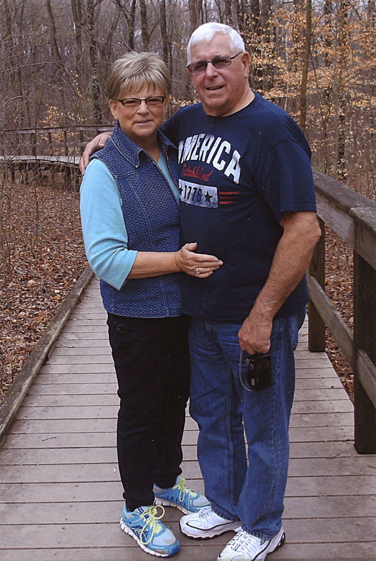 Larry Nielsen poses with his wife, Ethylene (Portice). They were married Aug. 15, 1997 in Saginaw. Larry's career in law enforcement began in 1973 and lasted until his retirement in April 2015.