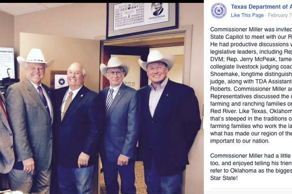 Sid Miller, second from left, poses with Oklahoma Reps. Brian Renegar, from left, Jerry McPeak and Jerry Shoemake and Texas Department of Agriculture Assistant Commissioner Walt Roberts.