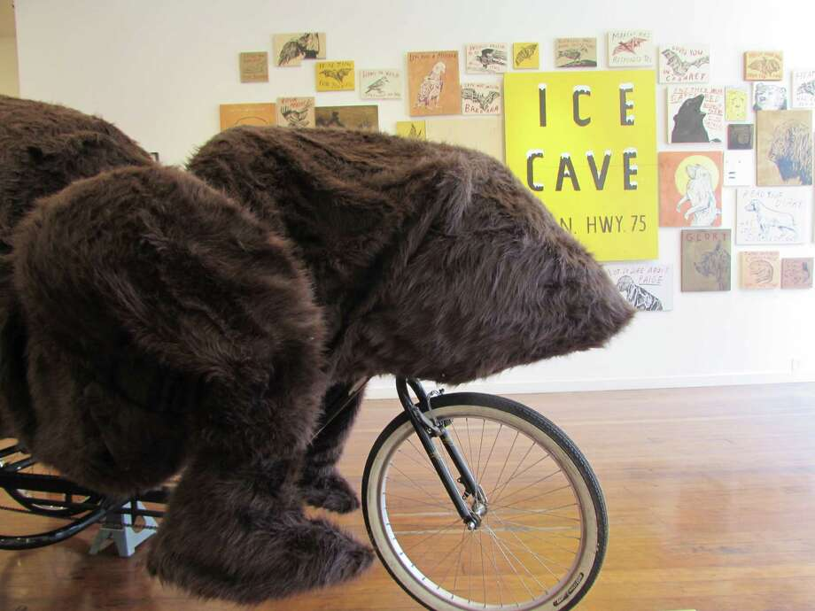 The bear pedicab at the Jules Maeght Gallery in Hayes Valley, made of a wood and foam frame with fake fur. Photo: SFGATE