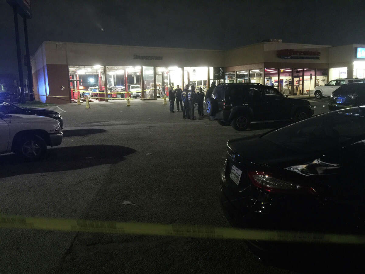 Three robbery suspects were shot at about 7 p.m. Thursday in the 11300 block of the North Freeway.