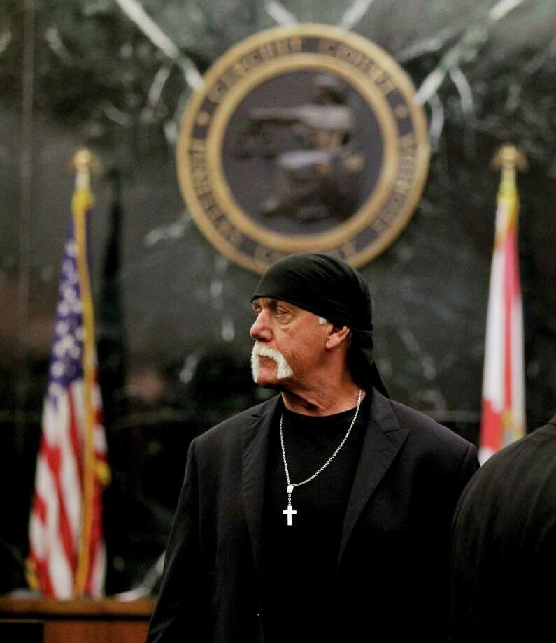 Hulk Hogan arrives before the start of his trial Thursday, March 17, 2016, in St. Petersburg, Fla. Hogan, whose given name is Terry Bollea, and his attorneys are suing Gawker Media for $100 million, saying his privacy was violated, and he suffered emotional distress after Gawker posted a sex tape of Hogan and his then-best friend's wife. (Dirk Shadd/The Tampa Bay Times via AP, Pool)  ORG XMIT: FLPET108 Photo: Dirk Shadd / Pool Tampa Bay Times