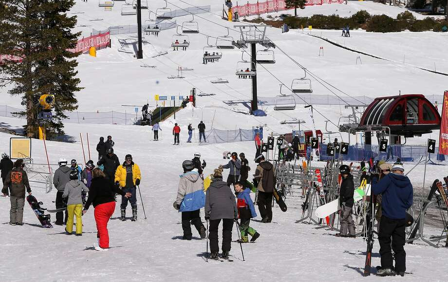 Skiers and snowboarders at Northstar California Resort on Thurs. March 17,  2016, in Truckee, California. Ski resorts, hotels and businesses in the Tahoe area are seeing increases of profits over last season with the huge amounts of snow that has fallen this winter. Photo: Michael Macor, The Chronicle