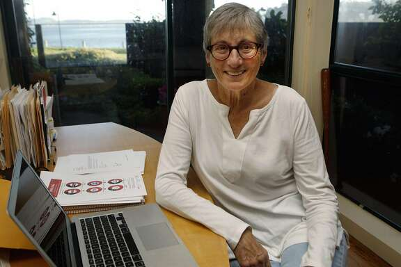 "Gina Glantz, founder of the organization Gender Avengers poses for a portrait in her home office in Tiburon, Calif., on Thursday, March 17, 2016. The Gender Avengers is an online community dedicated to drawing attention to instances of ""women being absent from or underrepresented in the public arena."""