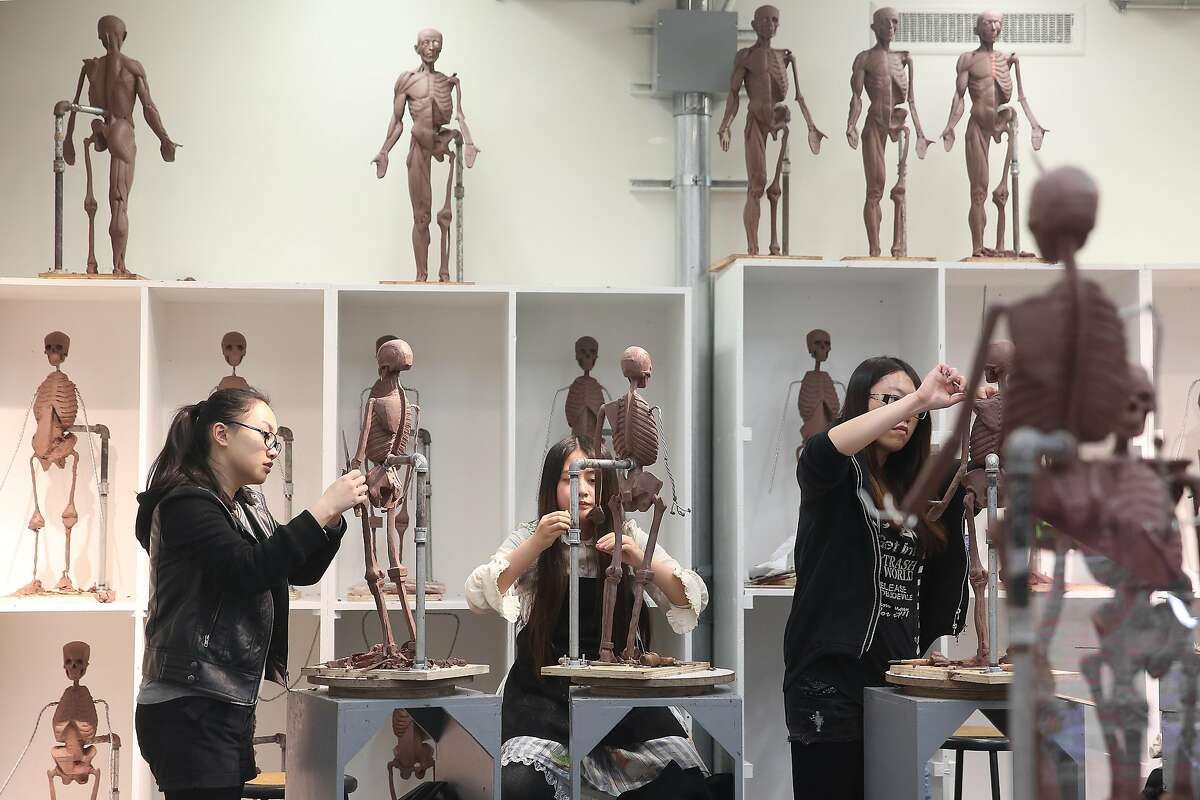 Students in the Ecorche studio of the Academy of Art University's school of fine art sculpture at the Cannery in San Francisco, California, viewed on thursday, march 17, 2016. The Planning Commission is going to be holding a hearing on the Academy of Art University, which has been in violation of city zoning laws on many of its properties.