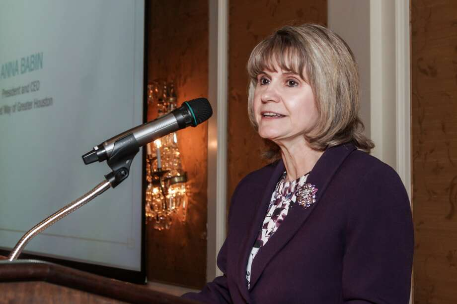 Anna Babin, President and CEO of the United Way of Greater Houston, spoke about retiring Family Houston CEO Nyla K. Woods. Photo: Kim Coffman
