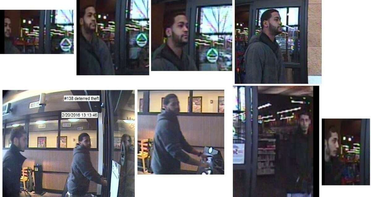 Do you know these men? The man in the first row of photographs is suspected of stealing $4,000 of gum and other items from a Market Bistro in Colonie. The man who accompanies him in the second row of photographs is not a suspect in the thefts but police said he appears to know so-called