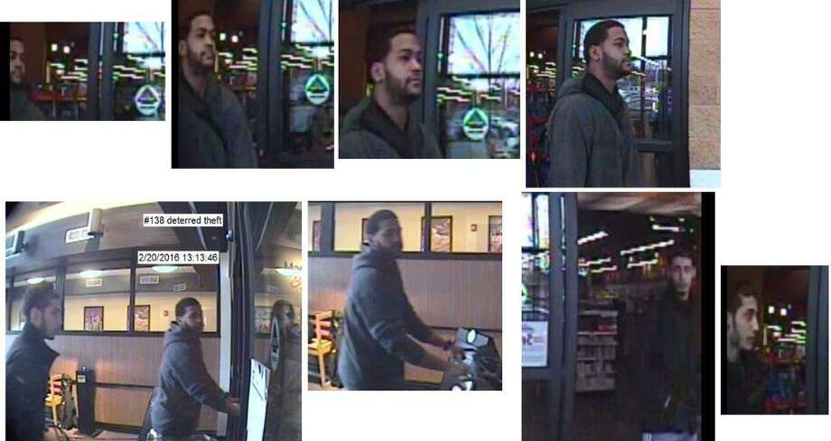 """Do you know these men? The man in the first row of photographs is suspected of stealing $4,000 of gum and other items from a Market Bistro in Colonie. The man who accompanies him in the second row of photographs is not a suspect in the thefts but police said he appears to know so-called """"Bubble Gum Bandit"""" and might be able to help them track him down. (Colonie Police Department)"""