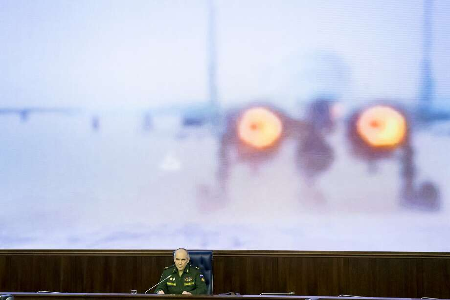 Lt. Gen. Sergei Rudskoi of the Russian Military General Staff said his air force was conducting between 20 and 25 sorties a day in support of the offensive. Photo: Alexander Zemlianichenko, AP