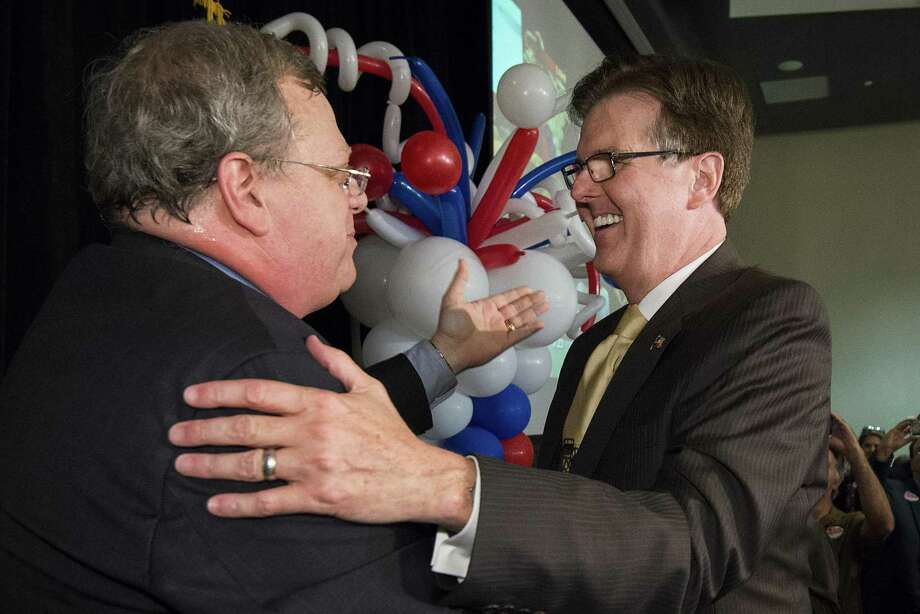 Sen. Paul Bettencourt, left, is the author of Senate Bill 2, which would gut local government's ability to tax. Here he celebrates in 2014 with now Lt. Gov. Dan Patrick after the polls closed in the Republican primary runoff election in May that year. Photo: Smiley N. Pool /Houston Chronicle / © 2014  Houston Chronicle