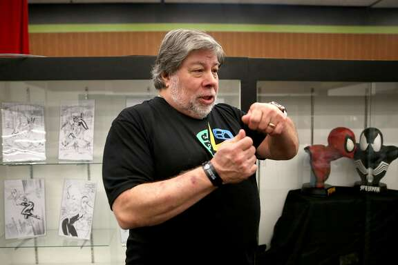 Steve Wozniak shows  the Stan Lee museum set up at the first Silicon Valley Comic Con at the San Jose Convention Center in San Jose, California,  on friday, march 18, 2016.