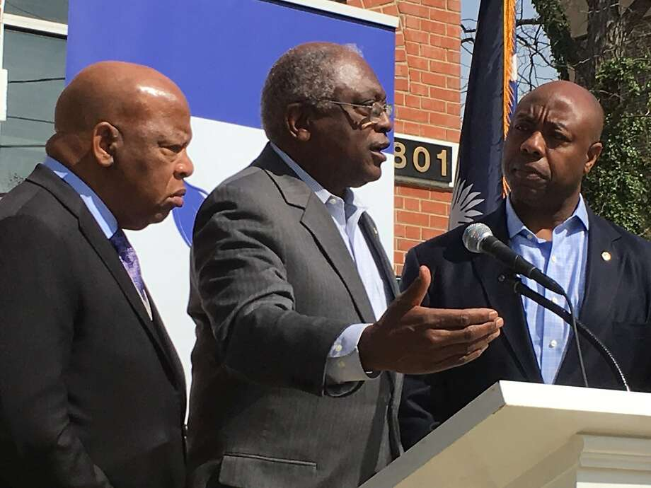 U.S. Reps. John Lewis, D-Ga., (left), Jim Clyburn, D-S.C. (center) and Sen. Tim Scott, R-S.C., kick off the Faith and Politics Institute civil rights pilgrimage in Columbia, S.C.