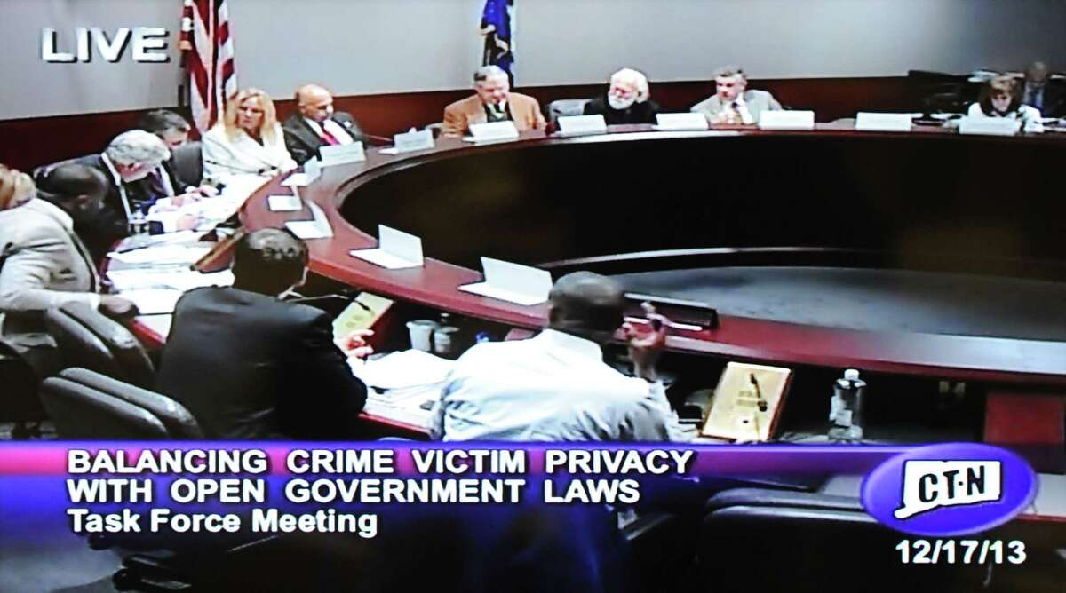 A screenshot of a Freedom of Information hearing on CT-N in December 2013.