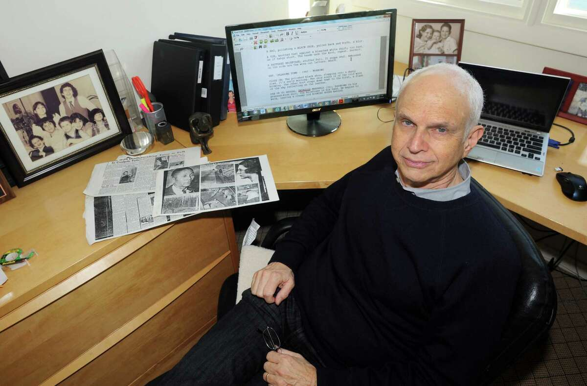 Michael Koskoff his home office in Westport. Koskoff, a longtime Bridgeport attorney has written a screenplay about Thurgood Marshall and his role in a 1940 criminal case in Greenwich.