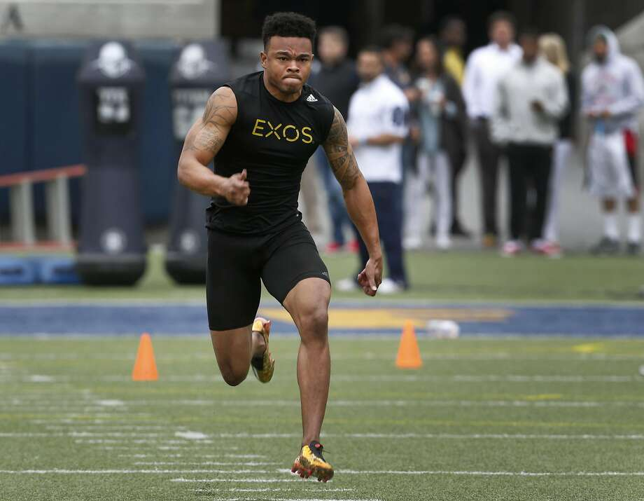 Wide receiver Bryce Treggs sprints 40-yards for NFL scouts to time at the California Golden Bears Pro Day at Memorial Stadium in Berkeley, Calif. on Friday, March 18, 2016. Photo: Paul Chinn, The Chronicle