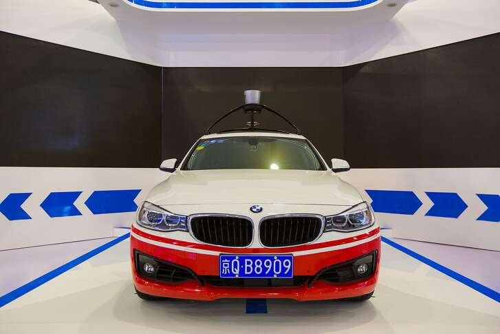 JIAXING, CHINA - DECEMBER 14:  (CHINA OUT) A Baidu self-driving car is on display during The Light of the Internet Expo as part of the 2nd World Internet Conference on December 14, 2015 in Jiaxing, China. The 2nd World Internet Conference - Wuzhen Summit would be held on Dec 16-18 in Wuzhen Town, Zhejiang Province.  (Photo by ChinaFotoPress/ChinaFotoPress via Getty Images)