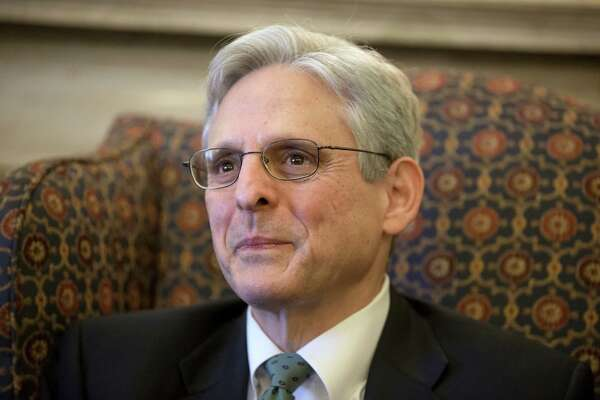 Judge Merrick Garland, President Barack Obama's choice to replace the late Justice Antonin Scalia on the Supreme Court, sits during a meeting with Sen. Patrick Leahy, D-Vt., the top Democrat on the Senate Judiciary Committee on Capitol Hill in Washington, Thursday, March 17, 2016. (AP Photo/J. Scott Applewhite)
