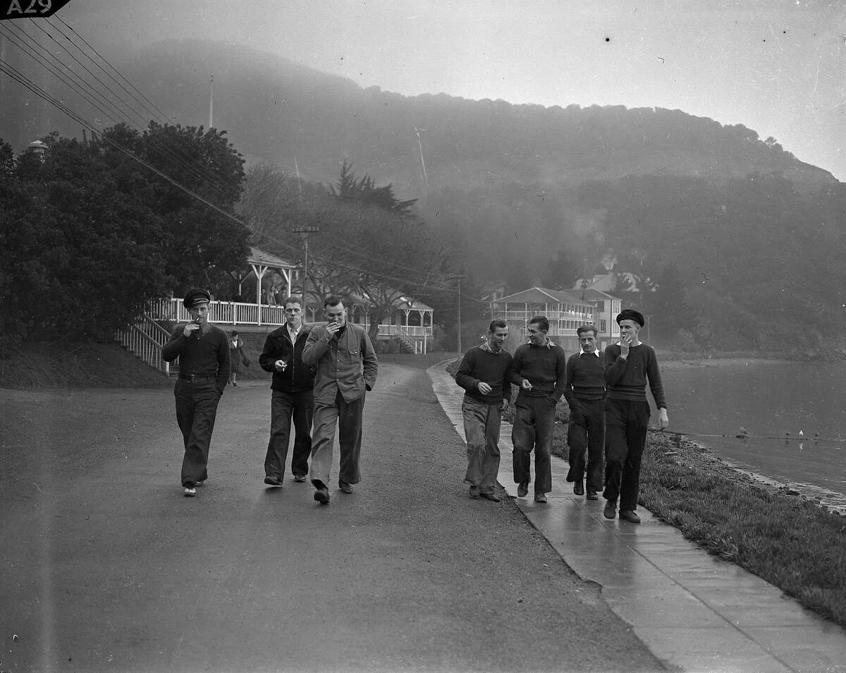 German crew members from the cruise ship Columbus are housed at the immigration station at Angel Island, hoping to be able to travel west ,eventually back to Germany 01/30/1940 photos ran 02/04/1940, p. 14