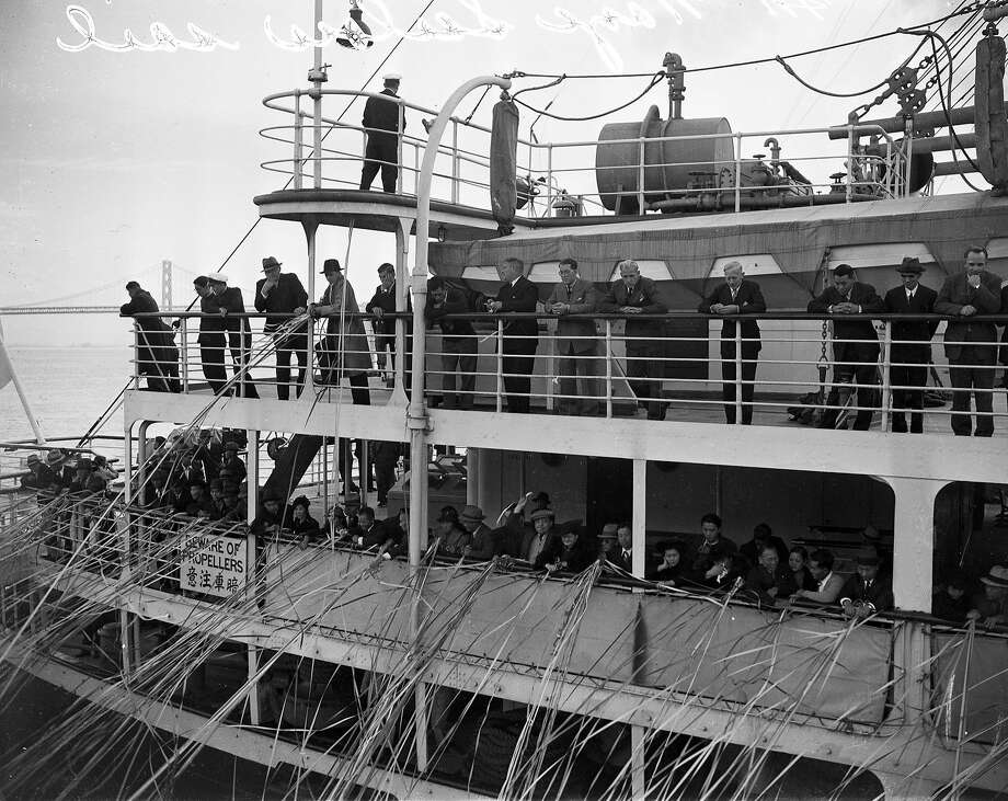 Crew members of the scuttled German ship Christopher Columbus were on the Japanese ship Asama Maru in January 1940, but they would end up disembarking when word came of Allied ships waiting for them. Photo: Photographer Unknown, The Chronicle