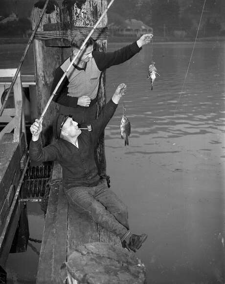 German crew members from the cruise ship Columbus to in some fishing during their stay on Angel Island. Photo: The Chronicle