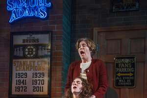 """Zelda (Nancy Carlin, standing) tries to help Rachel (Martha Brigham) breathe in Aurora Theatre's """"The How and the Why"""""""