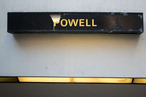 A sign for BART's Powell station is seen on Friday, Nov. 6, 2015 in San Francisco, Calif.