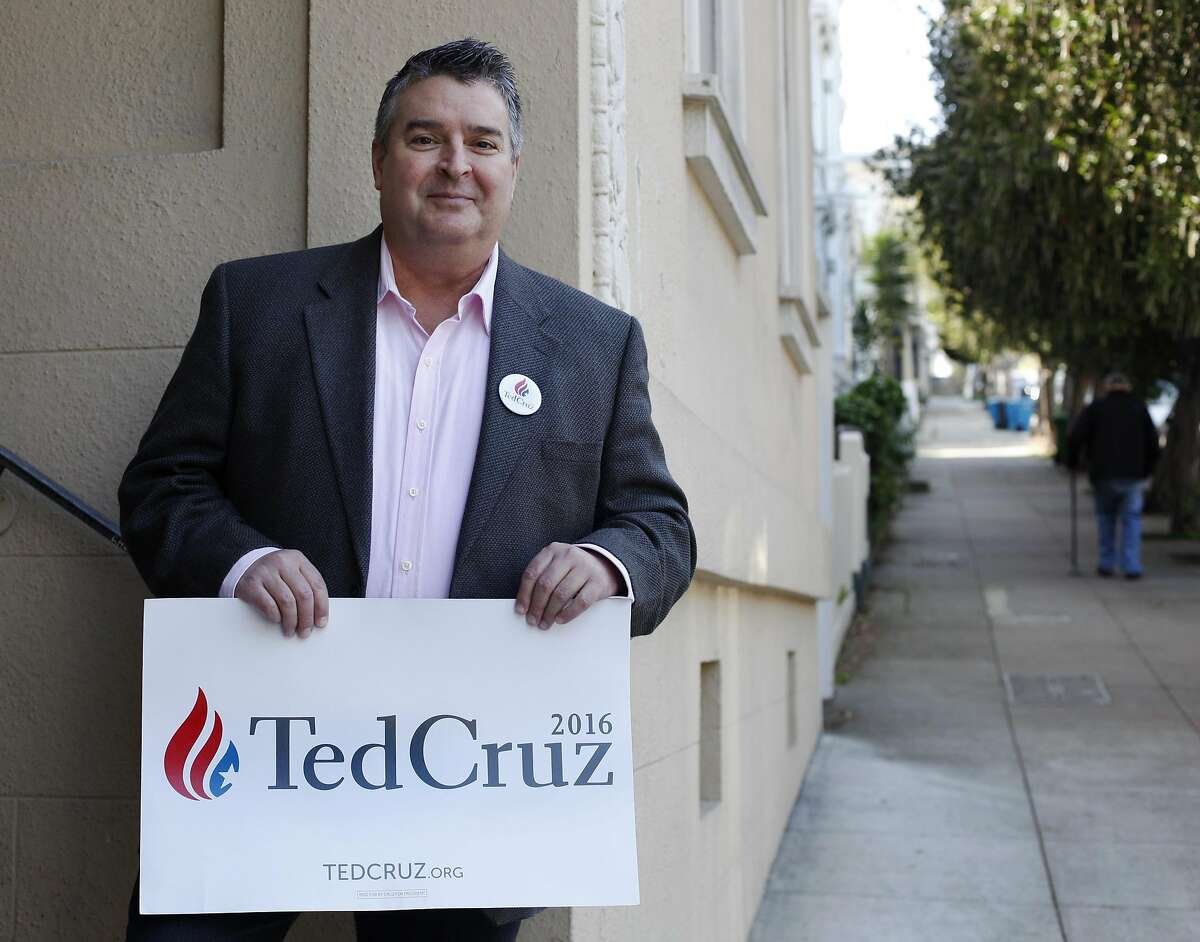 Tom Canaday, a year-long volunteer for the presidential candidate Ted Cruz, poses for a photograph in San Francisco, Calif., on Friday, March 18, 2016.