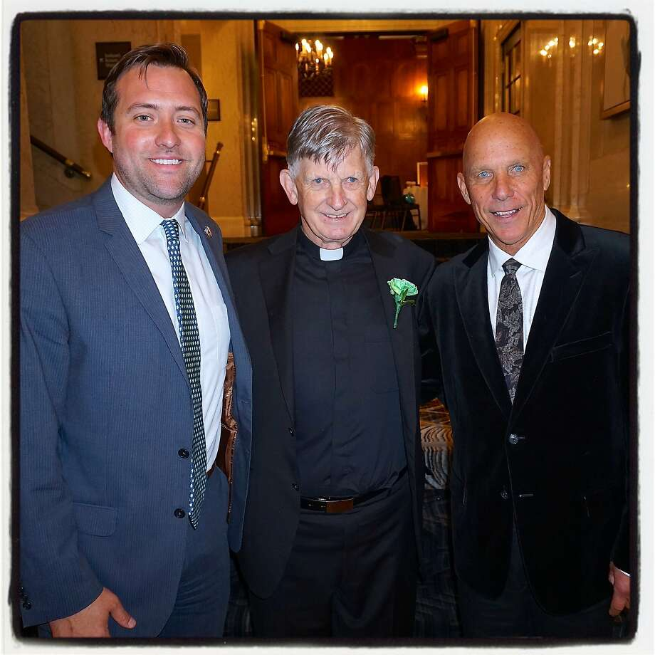 S.F. Giants exec and Hibernian Newman Club member Joey Nevin (left), St. Patrick's Day lunch honoree Father Brendan McBride and former Giants coach Tim Flannery. Photo: Catherine Bigelow, Special To The Chronicle