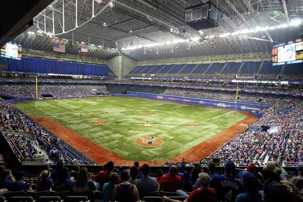 The Texas Rangers and Kansas City Royals play during the Big League Weekend spring exhibition baseball game on March 18, 2016 at the Alamodome.
