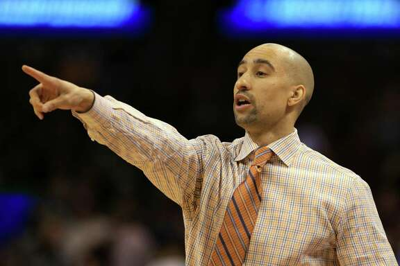 OKLAHOMA CITY, OK - MARCH 18:  Head coach Shaka Smart of the Texas Longhorns shouts to his team in the first half against the Northern Iowa Panthers during the first round of the 2016 NCAA Men's Basketball Tournament at Chesapeake Energy Arena on March 18, 2016 in Oklahoma City, Oklahoma.