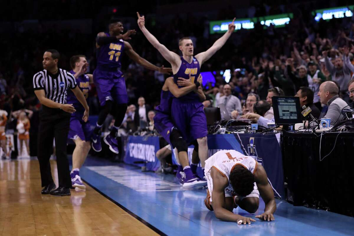 OKLAHOMA CITY, OK - MARCH 18: Isaiah Taylor #1 of the Texas Longhorns reacts after Paul Jesperson #4 of the Northern Iowa Panthers hit a half court three pointer to win the game with a score of 75 to 72 during the first round of the 2016 NCAA Men's Basketball Tournament at Chesapeake Energy Arena on March 18, 2016 in Oklahoma City, Oklahoma.