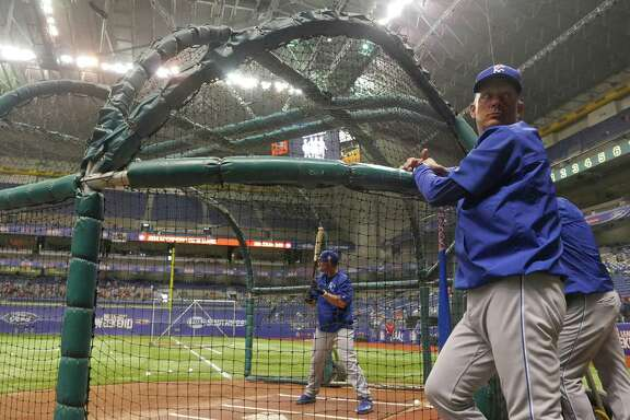 Baseball Hall of Fame member George Brett, who played with the Kansas City Royals, watches the Royals take batting practice in the Alamodome prior to their Big League Weekend game against the Texas Rangers on Saturday, March 19, 2016.