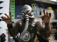 The character Terl from the upcoming movie Battlefield Earth, seen during the Silicon Valley Comic Con 2016, on Sat. March 19, 2016, at the San Jose Convention Center in San Jose, California.