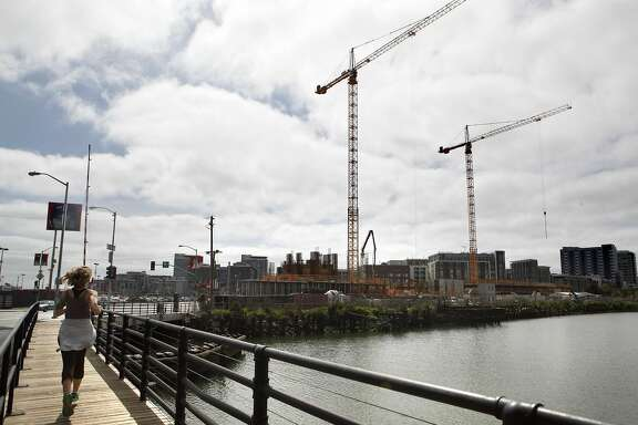 Construction is occurring along the south side of Mission Creek just next to the Lefty O' Doul Bridge in San Francisco, Calif., on Friday, March 18, 2016.