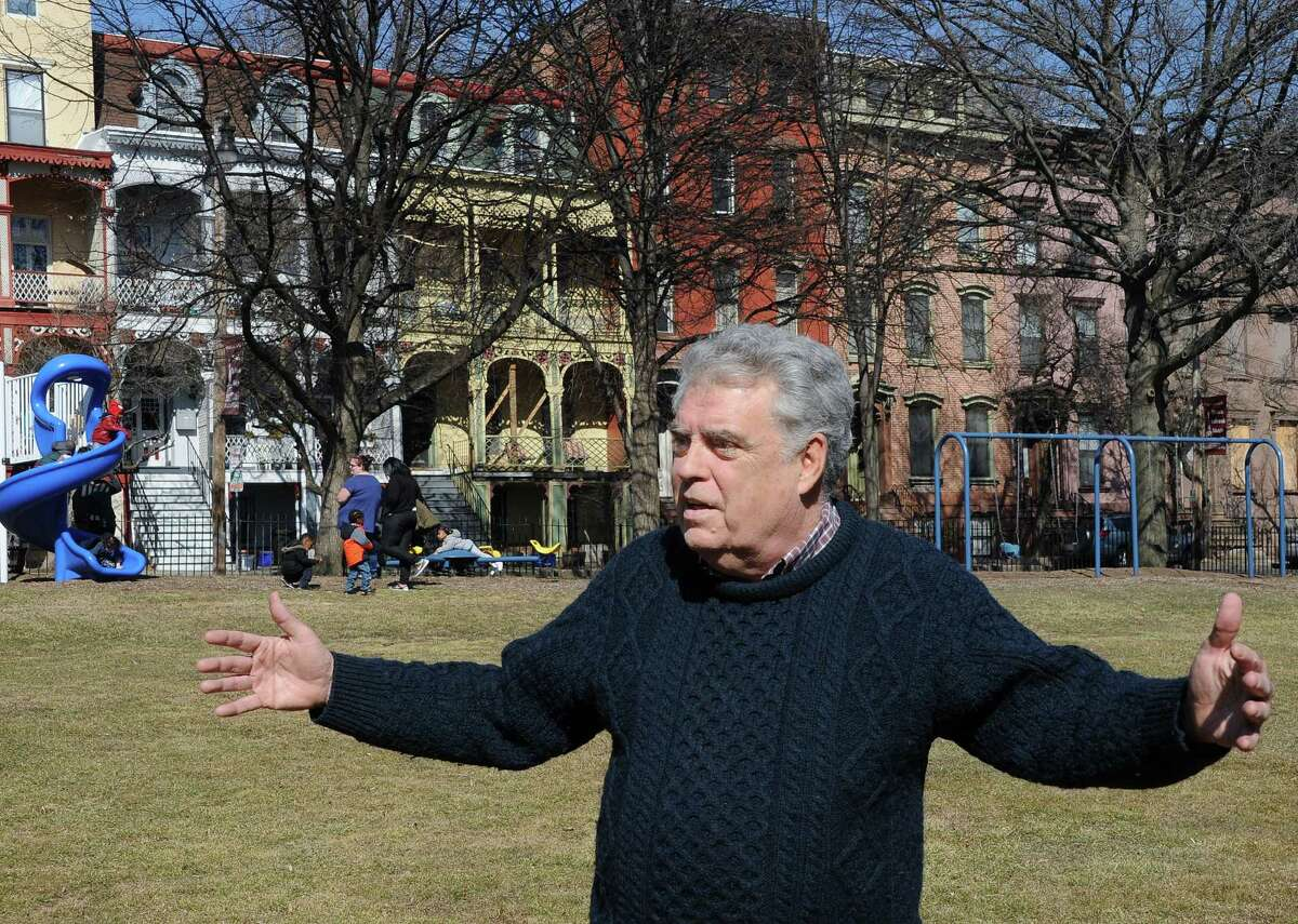 Historian Jack McEneny talks about the different waves of immigration and various ethnic groups who lived in the city's Ten Broeck Triangle during a tour of the neighborhood Wednesday March 9, 2016 in Albany, NY. (John Carl D'Annibale / Times Union)