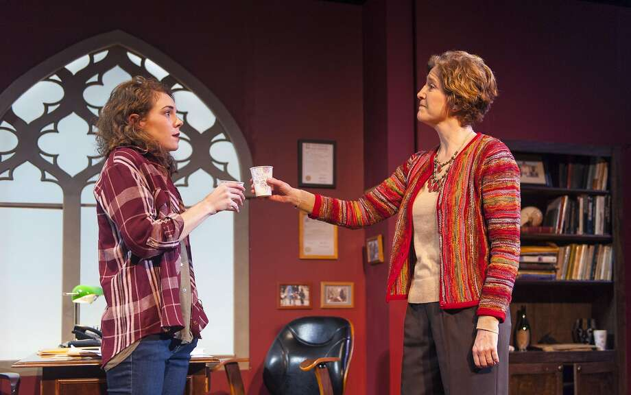 """Rachel (Martha Brigham, left) and Zelda (Nancy Carlin) toast to their first meeting in """"The How and the Why"""" at Aurora Theatre. Photo: David Allen"""