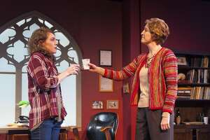 "Rachel (Martha Brigham, left) and Zelda (Nancy Carlin) toast to their first meeting in ""The How and the Why"" at Aurora Theatre"