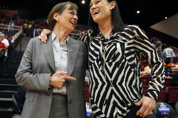 Stanford head coach Tara VanDerveer (left) and San Francisco head coach Jennifer Azzi chat before their team's faced off during 2016 NCAA Division 1 Women's Basketball Tournament game at Maples Pavilion in Stanford, Calif., on Saturday, March 19, 2016.