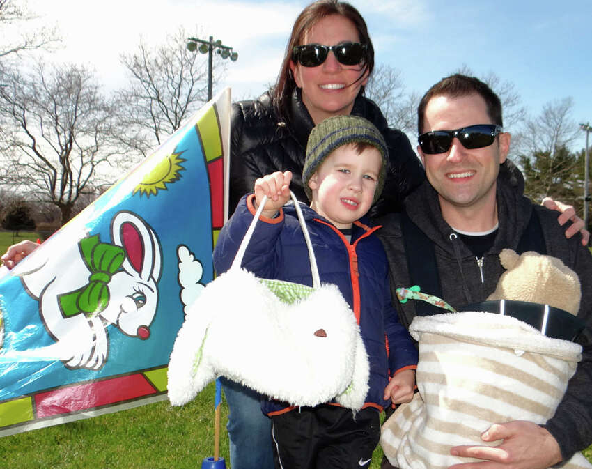Corie and Josh Simpson of Fairfield, with sons Tyler, 3, and Cameron, three months, turned out for the parks and recreation egg hunt.