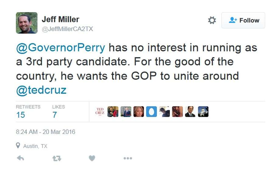 """""""@GovernorPerry has no interest in running as a 3rd party candidate."""" For the good of the country, he wants the GOP to unite around @tedcruz."""" Photo: Twitter Screen Grab"""