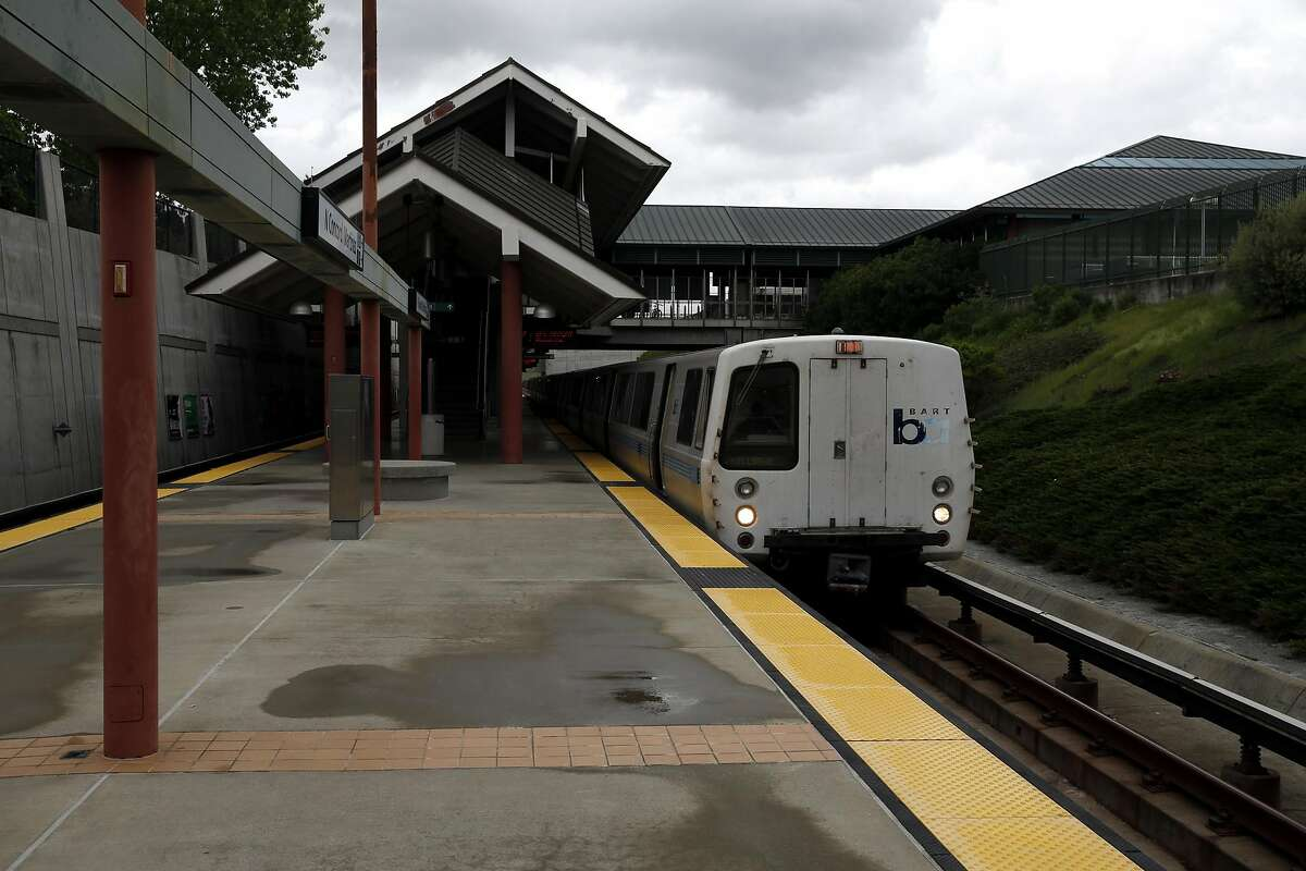 A BART train sits at the North Concord/Martinez Station in Concord, California, on Sunday, March 20, 2016. Just north of this station is the track problem that has delayed trains recently.