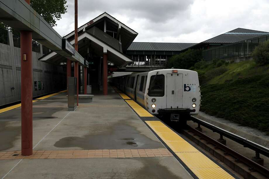 A BART train sits at the North Concord/Martinez Station in Concord, California, on Sunday, March 20, 2016. Just north of this station is the track problem that has delayed trains recently. Photo: Connor Radnovich, The Chronicle