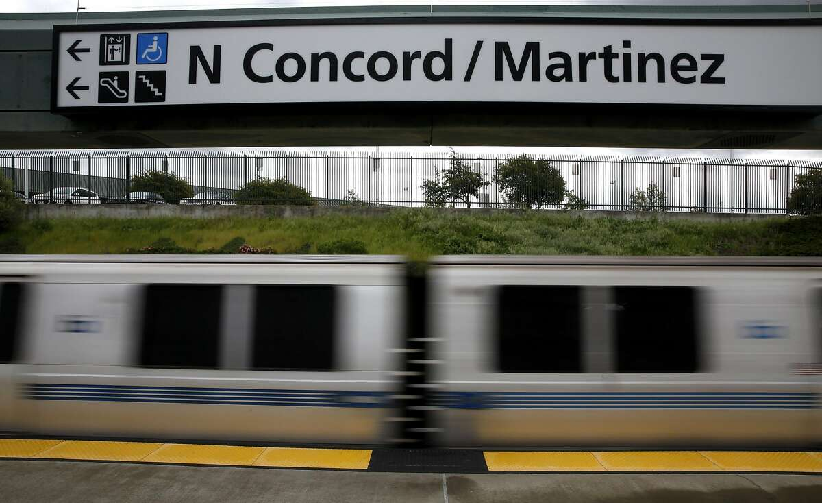 A BART train drives out of the North Concord/Martinez Station in Concord, California, on Sunday, March 20, 2016. Just north of this station is the track problem that has delayed trains recently.