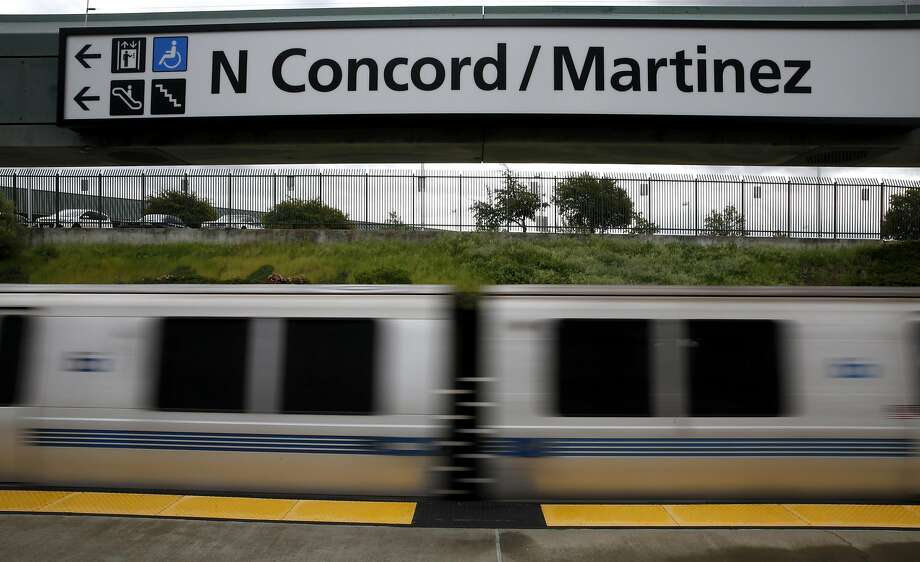 A BART train drives out of the North Concord/Martinez Station in Concord, California, on Sunday, March 20, 2016. Just north of this station is the track problem that has delayed trains recently. Photo: Connor Radnovich, The Chronicle
