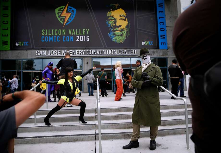 Cindy Tsai and Michael Boehm of Foster City pose in front of Silicon Valley Comic Con in San Jose, Calif., on Sunday, March 20, 2016. Photo: Scott Strazzante, The Chronicle