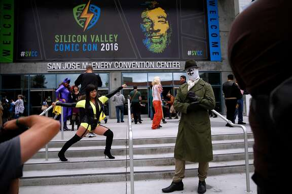 Cindy Tsai and Michael Boehm of Foster City pose in front of Silicon Valley Comic Con in San Jose, Calif., on Sunday, March 20, 2016.