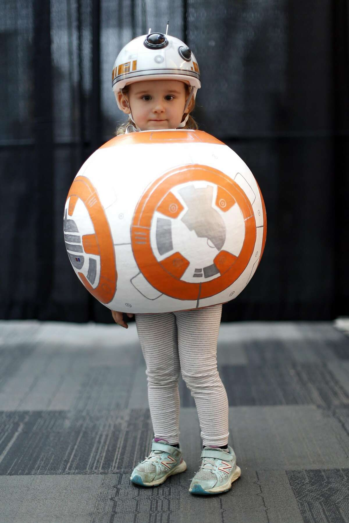 """Sophia Sinesio, 3, of Saratoga as """"BB-8"""" at Silicon Valley Comic Con in San Jose, Calif., on Sunday, March 20, 2016."""