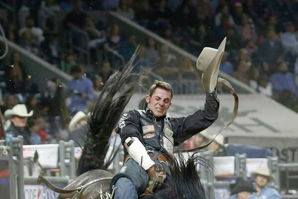 Austin Foss competes during the final of the bareback riding competition on the last day of the Houston Livestock Show and Rodeo Sunday, March 20, 2016, in Houston. Foss was the day's champion in the event.