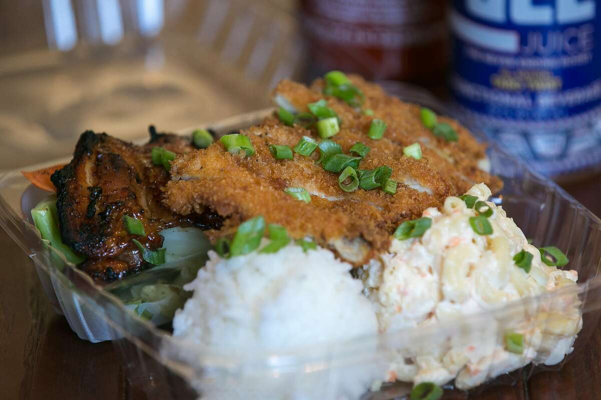 Chicken combo plate at Huli Huli in S.F.